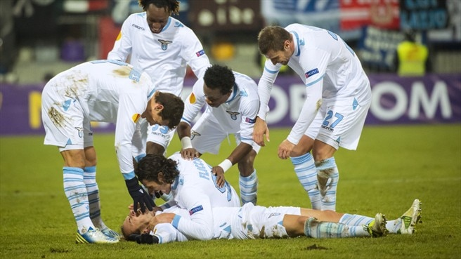 SS Lazio player celebrate a goal