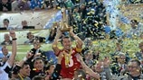 Suleimenov (Kairat Almaty) lifts the cup