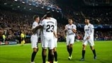 Valencia players celebrate first goal