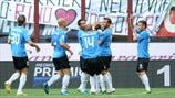 Novara Calcio players celebrate