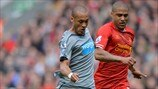 Yoan Gouffran (Newcastle United FC) & Glen Johnson (Liverpool FC)